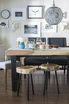 A little rustic feel to this farmhouse style dining!