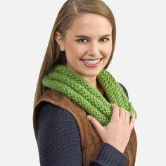 Keep toasty warm with this easy-to-knit Twisty Cowl. Directions are given to make the scarf either flat or in the round. You choose the method that you enjoy the most! Designed by Gloria Tracy.