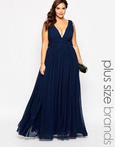 Plus Size Plunge Neck Maxi Dress