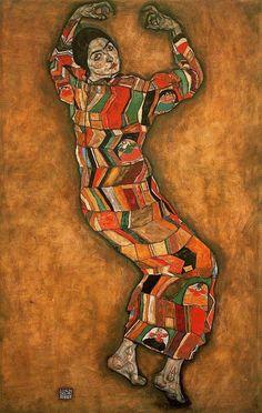 Schiele friederike maria beer, Egon Schiele    이 그림도 에곤 쉴레의 그림이다. 막스 오펜하이머보다 절도미는 덜하지만 어쩐지 미래지향적인 느낌을 준다. 몸의 자세와 고개의 방향이 흔하지 않은 움직임이다. 게다가 온몸을 감싸는 퍼즐 같은 의상도 분열된 자아와 파편처럼 흩어지는 이상을 담고 있는 듯해 그림의 오묘한 분위기에 중요한 역할을 하고 있다.