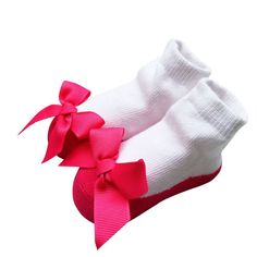 Socks for Baby Girls Newborn with Big Bow 0-12M - More Colors Available