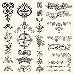 Illustration of Design elements vector art, clipart and stock vectors. Vector Design, Vector Art, Ad Design, Water Lily Tattoos, Lacey Pattern, Carving Designs, Ornaments Design, Vintage Typography, Art Store