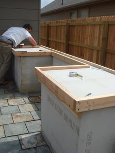 "Outside Concrete Countertop, perfect spot for the BBQ! This would work great on the ""patio expansion"" project!"