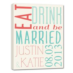 eat drink and be married wedding gift
