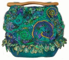 It's just a Handbag but it's nearly Art. Freeform Crochet - Guru - Deep Water #weee