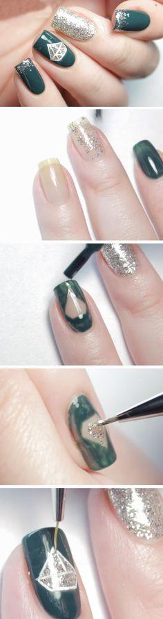 Diamond Gel Nail Art   Easy DIY Prom Nails Tutorials Step by Step   DIY Homecoming Nails for a Black Dress