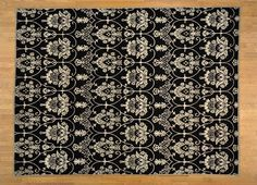 9' x 12' Wool and Silk Modern Damask Design Hand Knotted Oriental Rug