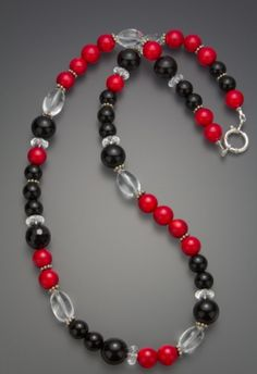 Black Onyx and Red Bamboo Coral # Necklace #Gemstones #jewelry