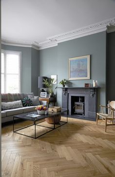 This is a large, double fronted Victorian house, built around 1890 and having recently undergone a complete renovation programme. Sofa Living, Dark Living Rooms, Living Room Green, My Living Room, Living Room Interior, Modern Living Room Paint, London Living Room, Victorian Terrace Interior, Victorian House Interiors