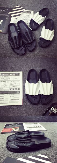 US $22 Bat Beach Flip Flops Sandals Casual Men Shoes Summer Fashion Slippers Sapatos Hombres Mens Flip Flops Black White Big Size