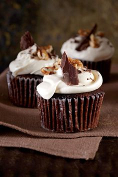Mississippi Mud Cupcakes - Wickedly Delicious Chocolate Desserts - Southernliving. A cupcake version of the classic sheetcake, these treats are the perfect ending to dinner around the campfire. Bake and freeze cupcakes in advance, and frost before serving.Recipe:Mississippi Mud Cupcakes