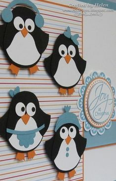 penguin punch art--begins with the su owl punch by vonda Holiday Cards, Christmas Cards, Christmas Decorations, Owl Punch Cards, Tarjetas Diy, Paper Punch Art, Penguin Craft, Owl Card, Winter Cards