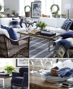 Atwood indigo style blue and white with wood tones living room family room Home Living Room, Living Room Designs, Living Room Decor, Living Spaces, Interior Exterior, Interior Design, Up House, White Rooms, White Houses