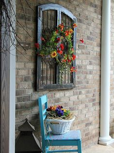 Check out this Thrifty chair makeover for seasonal porch. Make a fun and very inexpensive welcome! The post Thrifty chair makeover for seasonal porch. Make a fun and very inexpensive welco… appeare . Outdoor Walls, Outdoor Living, Outdoor Wall Art, Outdoor Rooms, Vintage Windows, Chair Makeover, Furniture Makeover, Front Door Decor, Front Doors