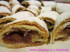 Grandma's Homemade Flaky Apple Strudel! SO GOOD!  http://www.sistersshoppingonashoestring.com/cooking-on-a-shoestring-grandmas-apple-strudel
