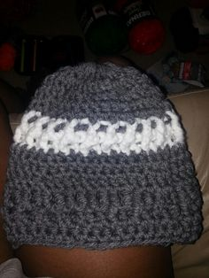 Gray/White Adult Beanie