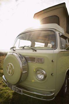 Close up of roof and sunshine VW Camper van