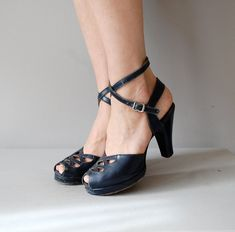 1940s shoes / navy 40s platform heels / USO Girl by DearGolden, $74.00