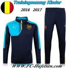 Schönsten Neue Fußball Trainingsanzug Arsenal Kinder Kits Schwarz/Blau 2016 2017 Meaney