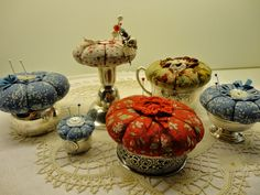 Adorable pincushions in silver napkin rings, etc - from: Rozen en Ruiten blog