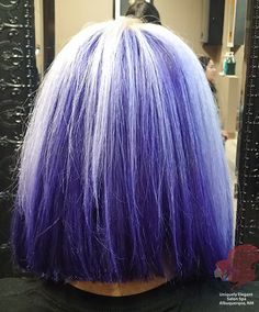 Asymmetrical bob haircut, platinum hair color and all over purple by: Hair Stylist Andrea Montoya. Brazilian Blowout by Andrea Montoya and hair stylist Lene Ramirez See more at: http://www.uniquelyelegantsalon.com/haircuts-hairstyles-photos-albuquerque/
