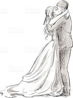 Wedding couple kiss. Newlywed.  Vector sketch. royalty-free stock vector art