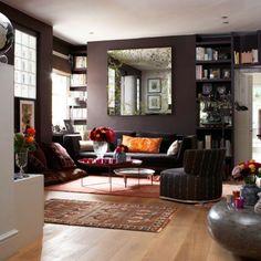 Chocolate living room. Love the cozyness
