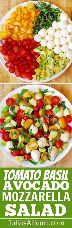 Tomato Basil Avocado Mozzarella Salad with Balsami. Tomato Basil Avocado Mozzarella Salad with Balsamic Dressing – You'll love this refreshing, healthy, Mediterranean style salad. Made with fresh ingredients, it's perfect for the Summer! Healthy Salads, Healthy Eating, Healthy Fruits, Healthy Smoothies, Smoothie Recipes, Healthy Summer Snacks, Healthy Food, Yogurt Smoothies, Healthy Recipes For Weight Loss