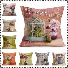 Decorative Floral Printing Home Linen Pillow Cover European Style Illustration Wallpaper Printed Square 18'' Cushion Cases