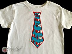Boys Dr Seuss Cat in the Hat Blue and Red Shirt with Applique Tie on Etsy, $18.00