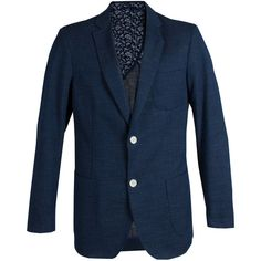 James Tattersall Men's 2-Button Cotton Blazer - Dark Blue/Navy ($109) ❤ liked on Polyvore featuring men's fashion, men's clothing, men's sportcoats, mens navy blazer, mens blazer jacket, mens short sleeve blazer, mens cotton blazer and mens blazers