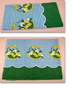 Vintage Blue Gingham with Flower Baskets Feed Sack Feedsack (Inventory #E112)
