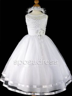 Lovely White Tulle Two Layered Sleeveless Embroidery Flower Decoration First Communion Dress