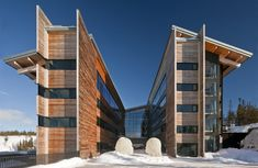Copperhill Mountain Lodge in Åre, Sweden Designed by Bohlin Cywinski Jackson Timber Architecture, Public Architecture, Residential Architecture, Architecture Design, Building Architecture, Dynamic Architecture, Copperhill Mountain Lodge, Alpine Hotel, Lakeside Hotel