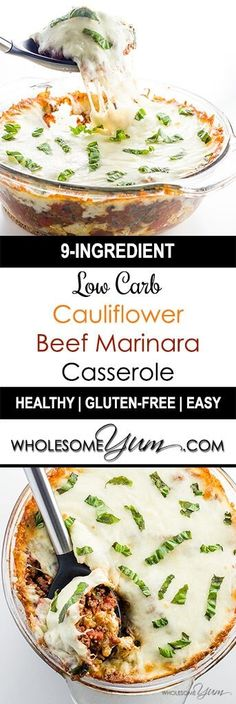 Low Carb Cauliflower Casserole with Beef Marinara (Gluten-free) - A low carb cauliflower casserole recipe with ground beef marinara, melted cheese & fresh basil. Gluten-free, keto, sugar-free & healthy. Only 9 ingredients!