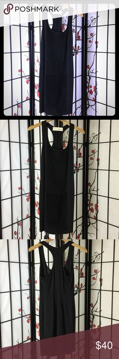 On sale - $32.00.  Selling this Graham & Spencer Black Suede Racerback Dress on Poshmark! My username is: seasontoseason. #shopmycloset #poshmark #fashion #shopping #style #forsale #Graham & Spencer #Dresses & Skirts