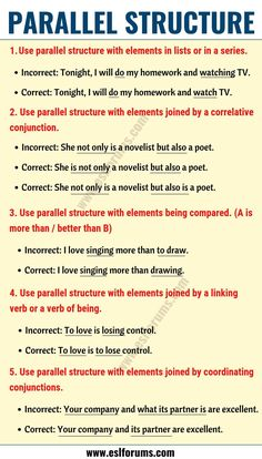 What is Parallelism? Definition, Examples of Parallel Structure in English All Verbs, Linking Verbs, English Vocabulary, English Grammar, Teaching English, Grammar Chart, Good Grammar, Ielts Writing Task1, Writing Tips