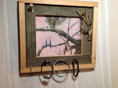 Pink Camo Distressed Barnwood Jewelry Holder, Antler Accents, Shell Casing…