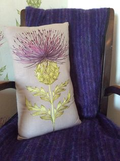 Hey, I found this really awesome Etsy listing at https://www.etsy.com/listing/246668548/handmade-embroidered-thistle-cushion