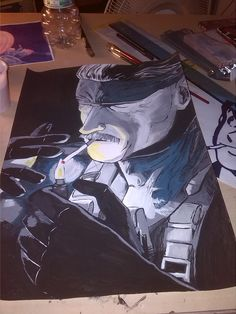 metal gear solid 4 - old snake tempera su carta