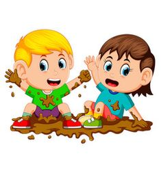 Two kids playing in the mud Royalty Free Vector Image Kids Vector, Free Vector Images, Vector Free, Color Activities, Activities For Kids, Clipart, Kindergarten Classroom Setup, Lama, Banners