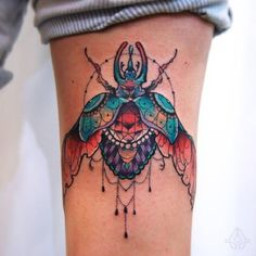Open Wing-ed Beetle Tattoo Design. This multi-meaning wing-ed beetle tattoo design is the best thing that you can wear.