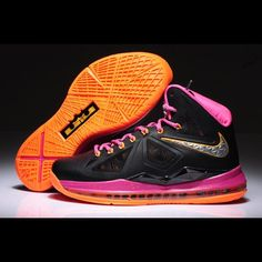 b1679fdb796d Cheap Womens Nike Lebron X Black Pink Orange style Basketball Shoes Store