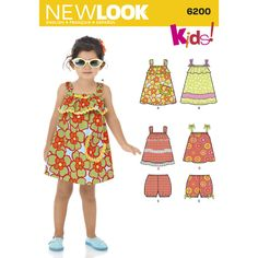 New Look 6200 - Toddler's' pullover sundress & top have shoulder strap variations,   elasticized back, optional flounce & trim variations. pull on bloomers have elasticized waist & leg openings with ribbon bows
