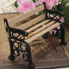 1 12 Wooden Bench Black Metal Dolls House Miniature Garden Furniture Accessories Sale Banggood