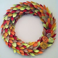 fall wreath paper - fall colors - large 22 inch newspaper rosette and leaf. $65.00, via Etsy.