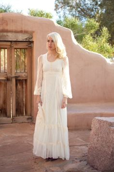 boho ivory romantic prairie lace ruffle wedding by BirdyJames, $425.00