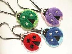 02716a93ca98 Ladybug ornament Set of 4 felt ornaments by ynelcas on Etsy