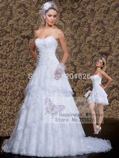 Find More Wedding Dresses Information about New Arrival Short and Long two pieces A line White/Ivory Vestido de noiva Detachable Beading Sweetheart Lace Wedding dress 2014,High Quality wedding dresses mermaid style,China wedding dress with lace jacket Suppliers, Cheap dress wedding reception from Happiness Witness on Aliexpress.com