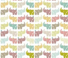 Spring Rhinos fabric by ttoz on Spoonflower - custom fabric